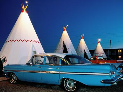 Wigwams and Old Car, Wigwam Motel, Route 66, Holbrook, Arizona-Witold Skrypczak-Photographic Print