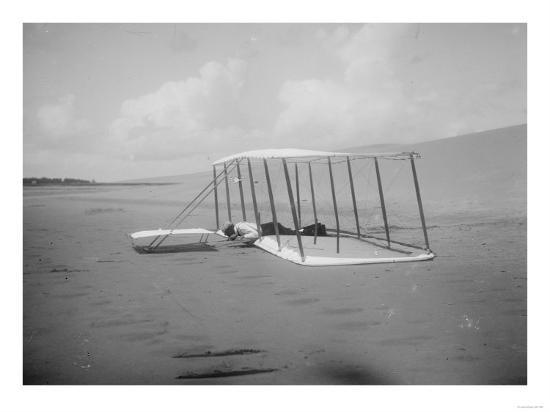 Wilbur Wright in prone position on glider Photograph - Kitty Hawk, NC-Lantern Press-Art Print