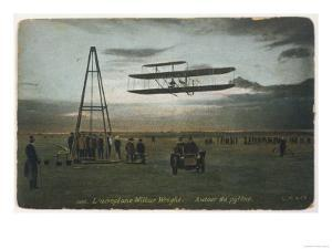 Wilbur Wright Rounds a Pylon at Auvours to Demonstrate the Manoeuvrability of His Biplane