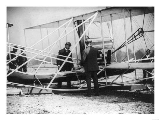 Wilbur Wright with Canoe attached to Plane Photograph - New York-Lantern Press-Art Print