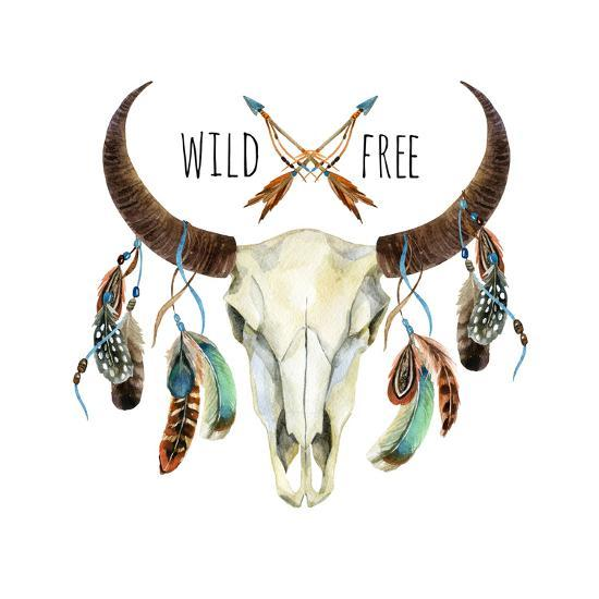 Wild and Free - Animal Skull with Feathers-tanycya-Art Print