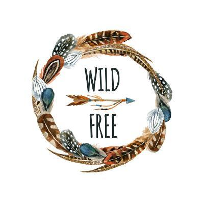 Wild and Free - Wreath with Bird Feathers and Arrow-tanycya-Art Print