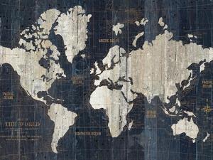 Old World Map Blue Crop by Wild Apple Portfolio