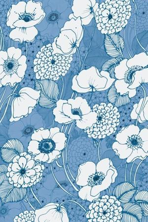 Pen and Ink Flowers on Blue by Wild Apple Portfolio