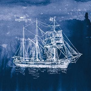 Sailing Ships III Indigo by Wild Apple Portfolio