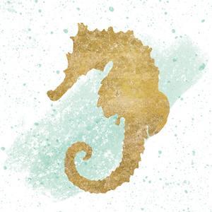 Silver Sea Life Seahorse no Gold Splatter by Wild Apple Portfolio