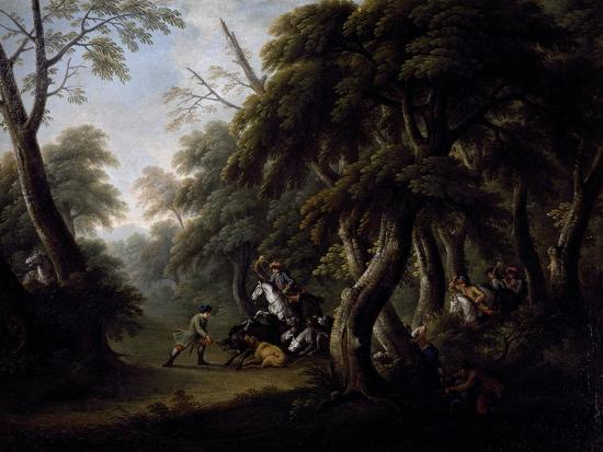 Wild Boar Hunting, End of 18th Century, Painting by Unknown Neapolitan Artist--Giclee Print
