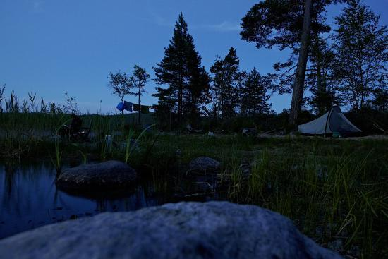 Wild camping site by night, Stora Le Lake, Dalsland, Götaland, Sweden-Andrea Lang-Photographic Print