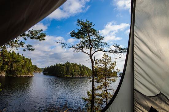 Wild camping, Stora Le Lake, Dalsland, Götaland, Sweden-Andrea Lang-Photographic Print