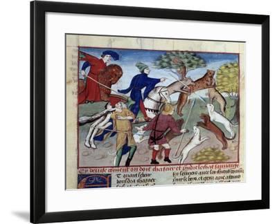 Wild Cat Hunting - 15Th Century Illumination--Framed Giclee Print