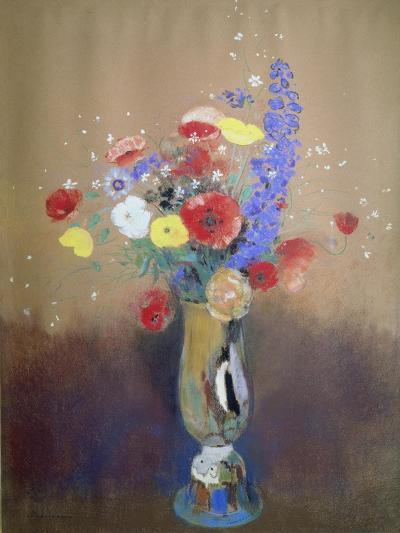 Wild Flowers in a Long-Necked Vase-Odilon Redon-Giclee Print