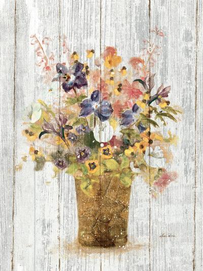 Wild Flowers in Vase II on Barn Board-Cheri Blum-Art Print