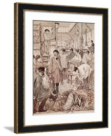 Wild Game Auction at Les Halles, Paris, France, 19th Century--Framed Giclee Print