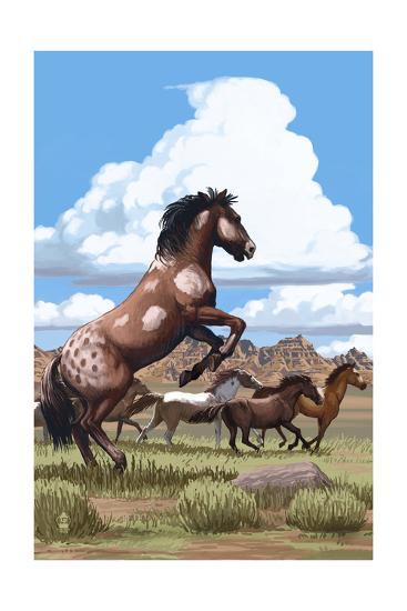 Wild Horses and Buttes-Lantern Press-Art Print
