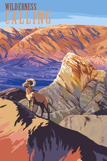 Wilderness Calling - National Park WPA Sentiment-Lantern Press-Art Print