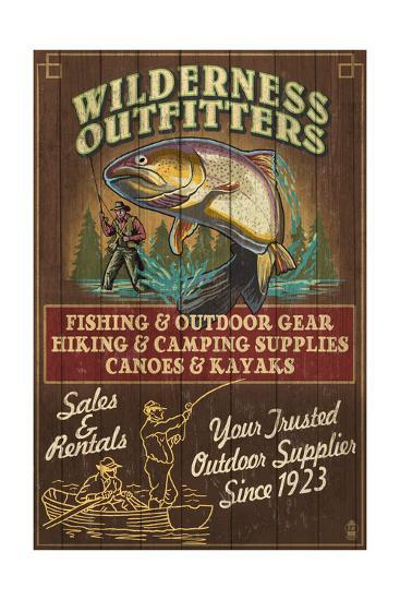 Wilderness Outfitters - Vintage Sign-Lantern Press-Art Print