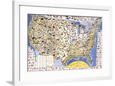 Wildlife And Game Map Of The United States-Ira Moss-Framed Art Print