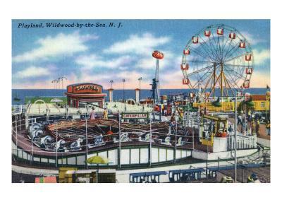 Wildwood-by-the-Sea, New Jersey - View of Playland Amusement Park-Lantern Press-Art Print