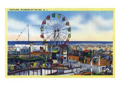 Wildwood-by-the-Sea, New Jersey - View of Playland, Ferris Wheel-Lantern Press-Art Print