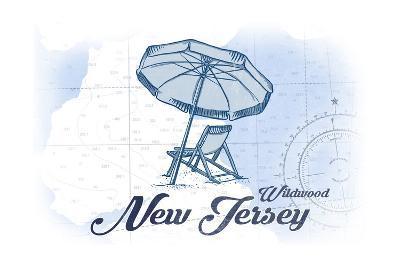 Wildwood, New Jersey - Beach Chair and Umbrella - Blue - Coastal Icon-Lantern Press-Art Print