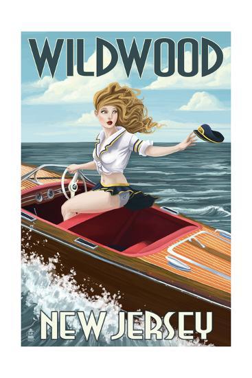 Wildwood, New Jersey - Boating Pinup Girl-Lantern Press-Art Print
