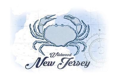 Wildwood, New Jersey - Crab - Blue - Coastal Icon-Lantern Press-Art Print