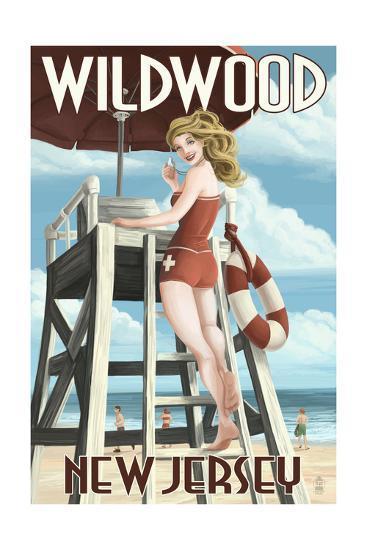 Wildwood, New Jersey - Lifeguard Pinup Girl-Lantern Press-Art Print
