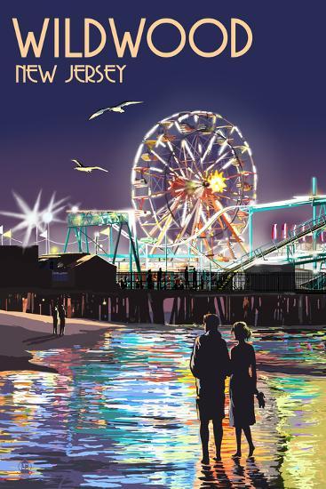 Wildwood, New Jersey - Pier and Rides at Night-Lantern Press-Art Print