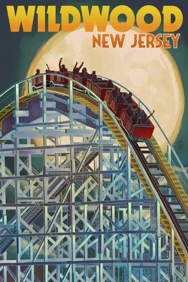 Wildwood, New Jersey - Roller Coaster and Moon-Lantern Press-Art Print