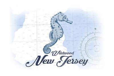 Wildwood, New Jersey - Seahorse - Blue - Coastal Icon-Lantern Press-Art Print
