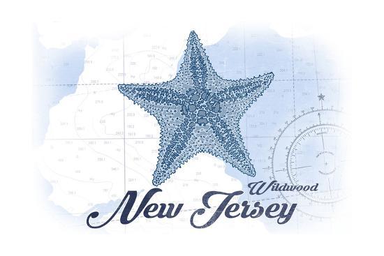 Wildwood, New Jersey - Starfish - Blue - Coastal Icon-Lantern Press-Art Print