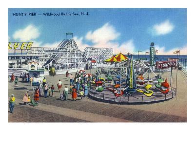 Wildwood, New Jersey - Wildwood-By-The-Sea Hunt's Pier-Lantern Press-Art Print