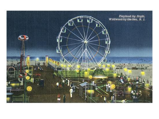 Wildwood, New Jersey - Wildwood-By-The-Sea Playland at Night View-Lantern Press-Art Print