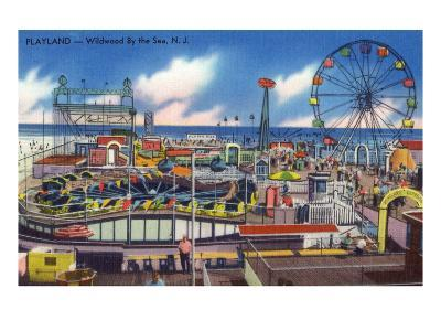 Wildwood, New Jersey - Wildwood-By-The-Sea Playland View-Lantern Press-Art Print