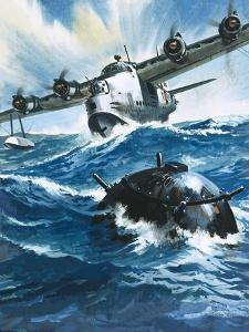 As Flying Officer G. O. Singleton Gunned the Engine of the Short Sunderland He Saw a Drifting Mine by Wilf Hardy