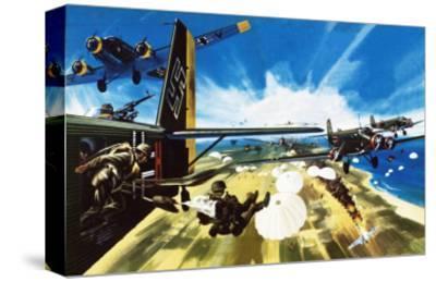 German Paratroopers Landing on Crete During Ww2