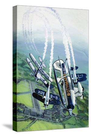 The Rothmans Aerobatics Team Flying in Their Stampe SV4B Biplanes