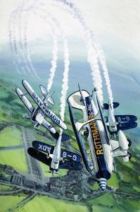 The Rothmans Aerobatics Team Flying in Their Stampe SV4B Biplanes by Wilf Hardy