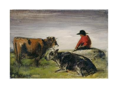Hirte mit Kühen. Um 1885