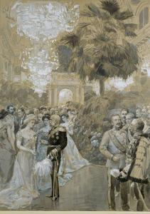"""Court ball at the Vienna """" Hofburg"""", the town palace of the Emperors of Austria-Hungary. by Wilhelm Gause"""