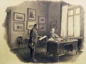 Emperor Franz Joseph I of Austria (1830-1916) at His Writing Desk at Jagdrock by Wilhelm Gause