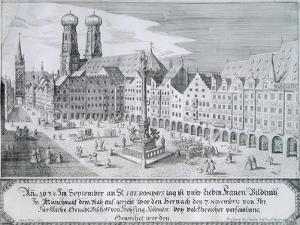 Mary's Column in Market Square in Munich, 1638 by Wilhelm Gause