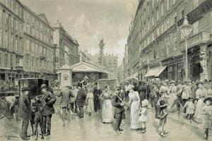 """The """" Graben"""", central square in downtown Vienna. In the background the plague column 1888. by Wilhelm Gause"""