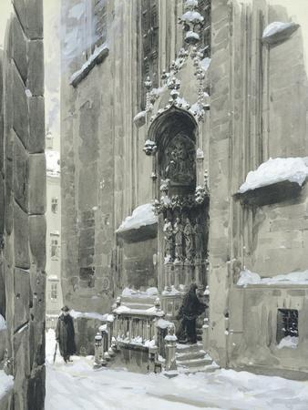The Passauerplatz in the Snow, Vienna, 1905