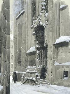 The Passauerplatz in the Snow, Vienna, 1905 by Wilhelm Gause