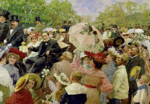 Vienna Lord Mayor Karl Lueger riding in his coach during the flower-corso in the Vienna Prater1904 by Wilhelm Gause