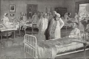 Visit of Franz Joseph of Austria to a Military Hospital in Vienna by Wilhelm Gause