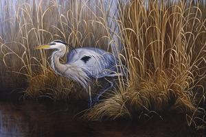 Set in Gold - Great Blue Heron by Wilhelm Goebel