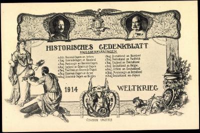Wilhelm II, Franz Josef I, Kriegserklärungen 1914--Giclee Print