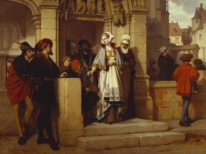 Faust and Mephistopheles Waiting for Gretchen at the Cathedral Door by Wilhelm Koller
